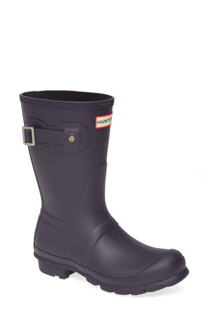 Hunter Original Short Waterproof Rain Boot In Aubergine