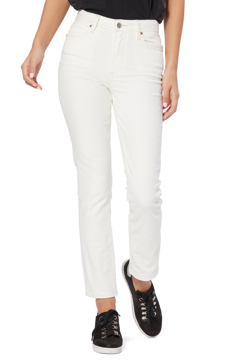 PAIGE Sarah Cross Back Belt Loop High Waist Slim Jeans, Main, color, 170