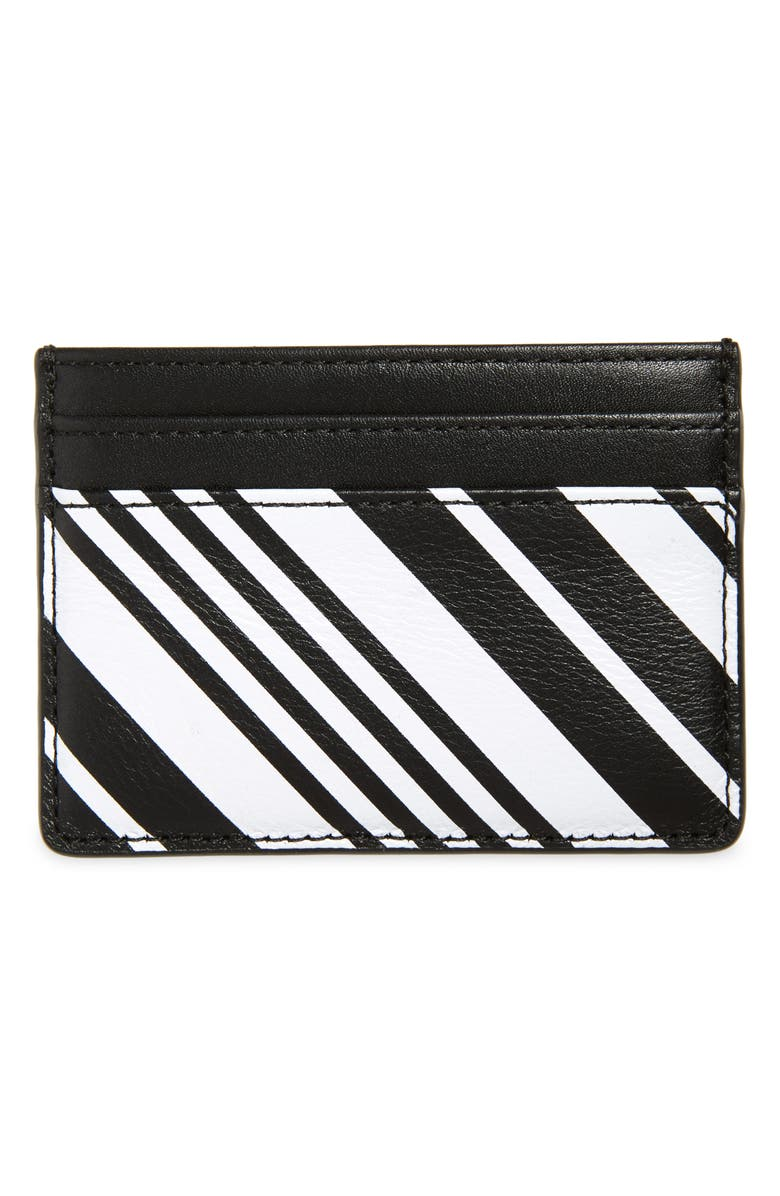 NORDSTROM Printed Leather Card Case, Main, color, BLACK STRIPE MULTI