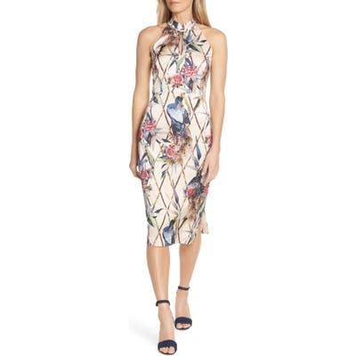 Forest Lily Peacock Halter Sheath Dress, Beige