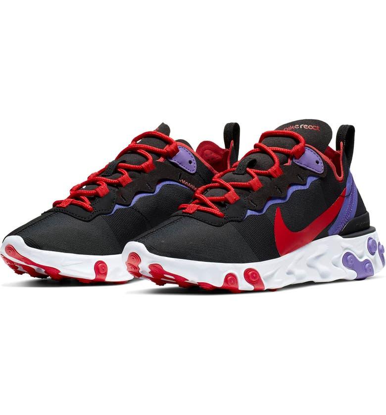 NIKE React Element 55 Sneaker, Main, color, BLACK/ UNIVERSITY RED/ PURPLE