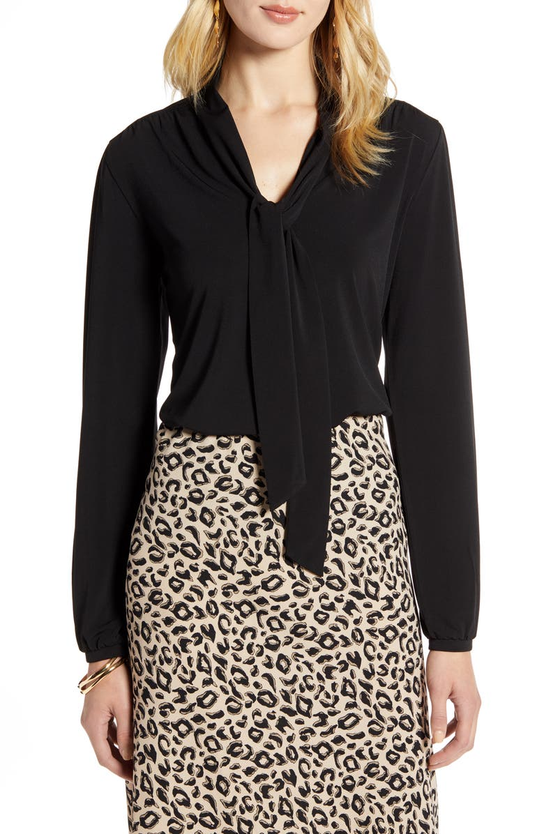 HALOGEN<SUP>®</SUP> Tie Neck Long Sleeve Top, Main, color, BLACK