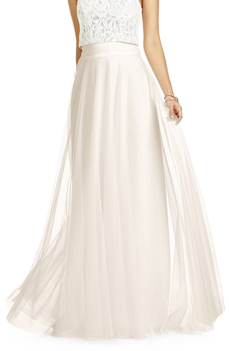 DESSY COLLECTION Full Length Tulle Skirt, Main, color, IVORY