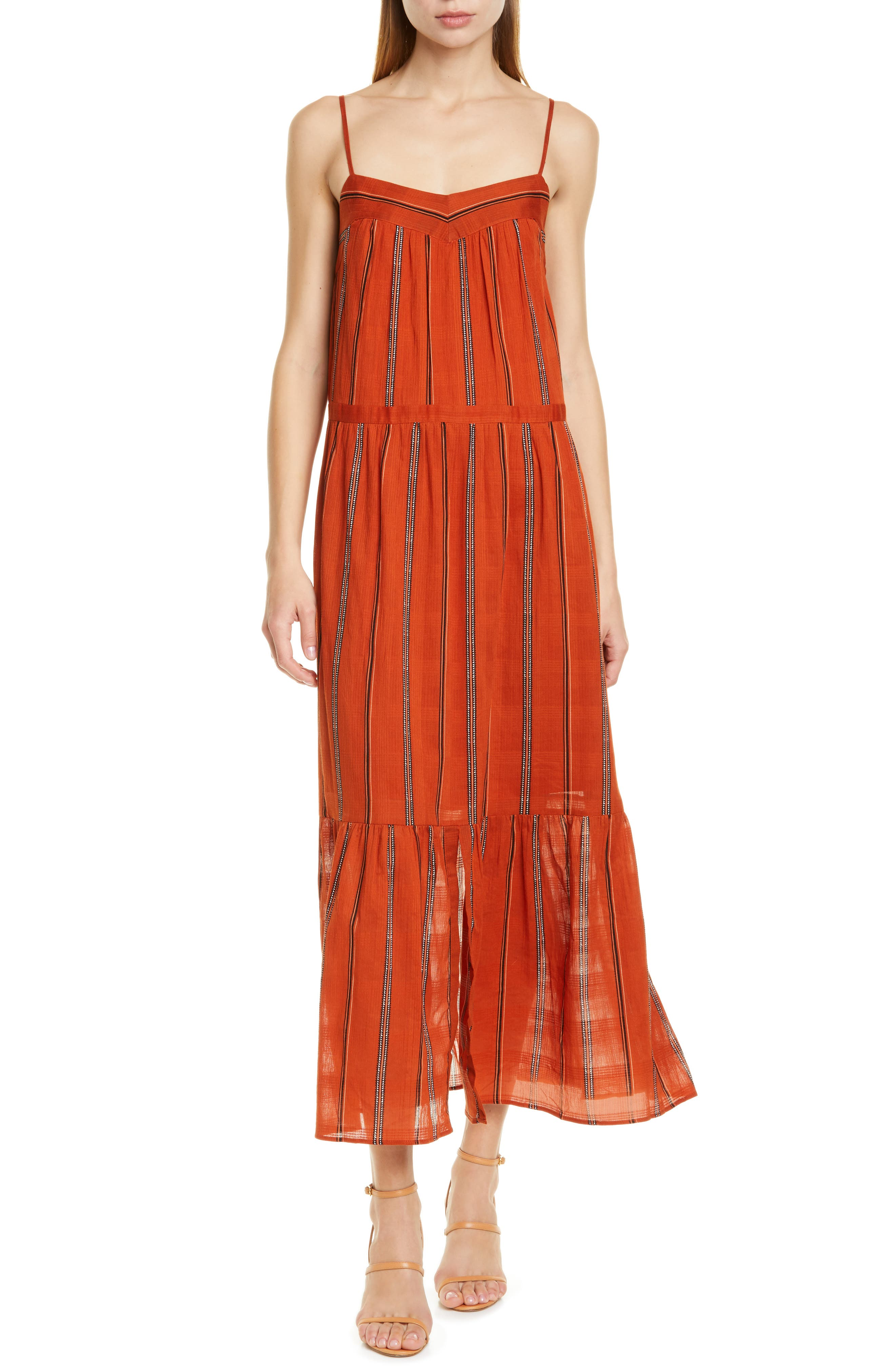 Ba & sh Kyo Tiered Cotton Maxi Dress, Brown