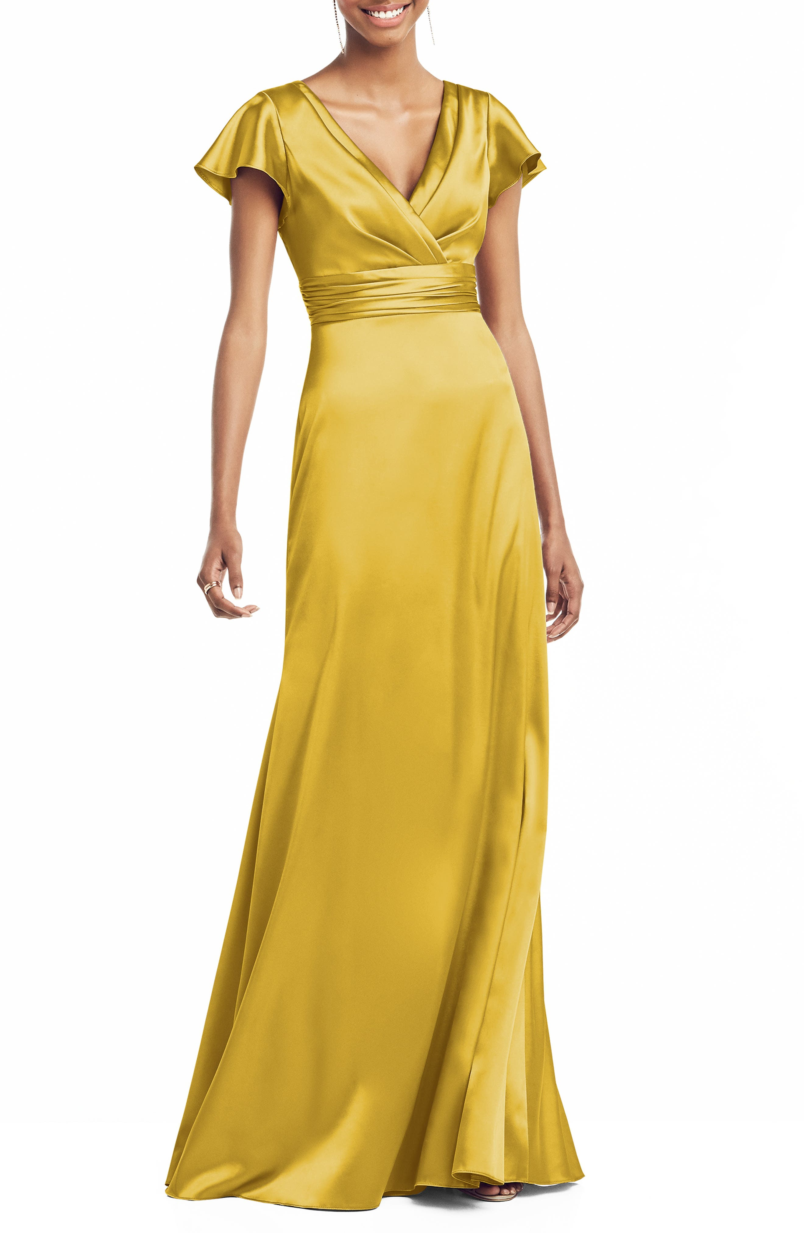 1920s, 1930s Mother of the Bride/Groom Dresses Womens Social Bridesmaids V-Neck Satin Trumpet Gown Size 4 - Yellow $248.00 AT vintagedancer.com