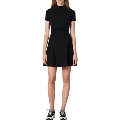 Sandro Liora Fit & Flare Sweater Dress, US / 40 FR - Black