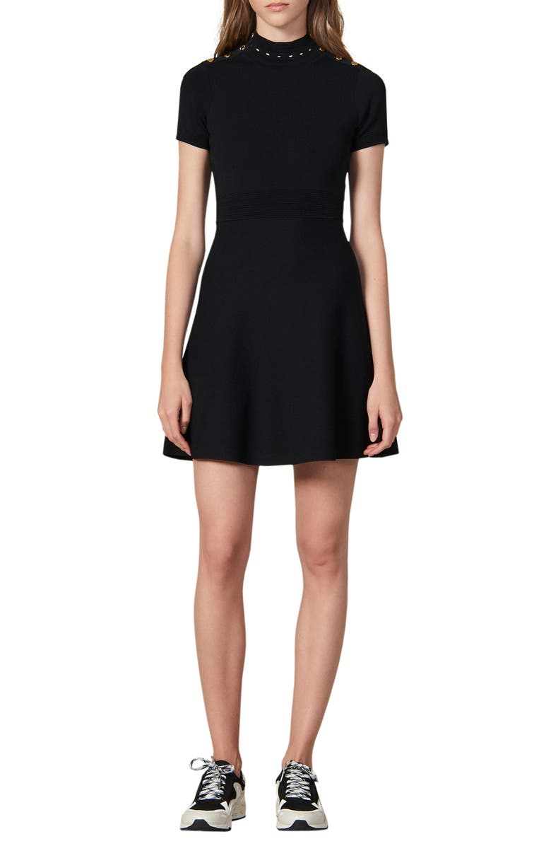 SANDRO Liora Fit & Flare Sweater Dress, Main, color, BLACK