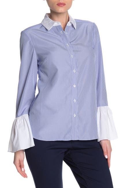 Image of ECI Flounced Sleeve Button Up Shirt