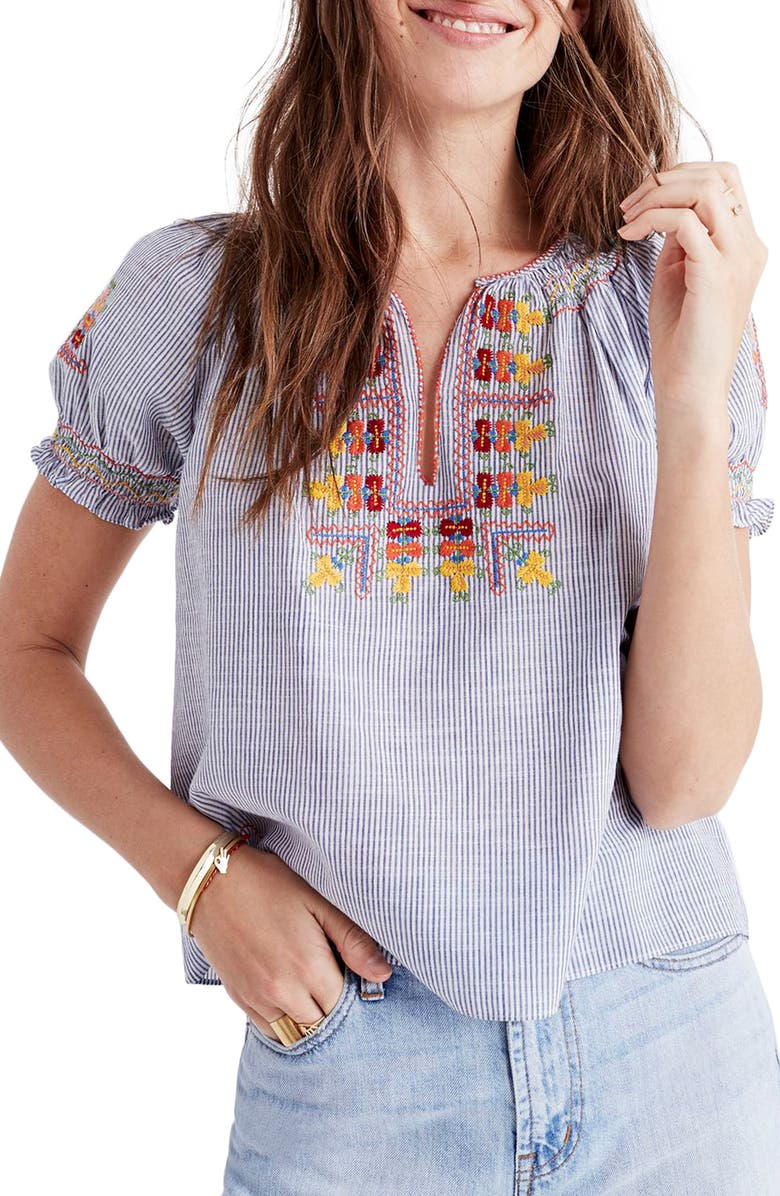 MADEWELL Embroidered Penny Peasant Top, Main, color, 400