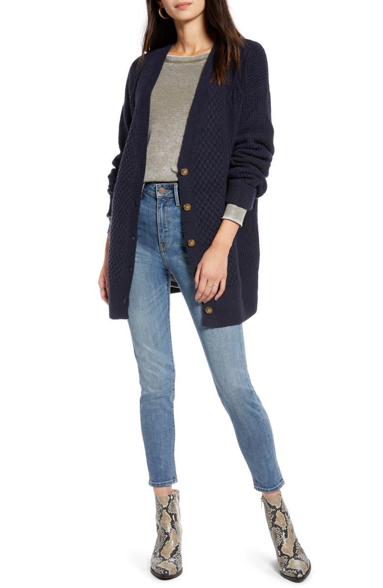 TREASURE & BOND Cable Cardigan, Main, color, NAVY NIGHT