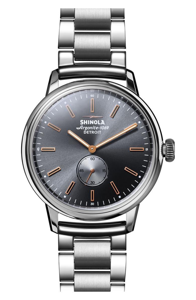 SHINOLA Bedrock Bracelet Watch, 42mm, Main, color, 040