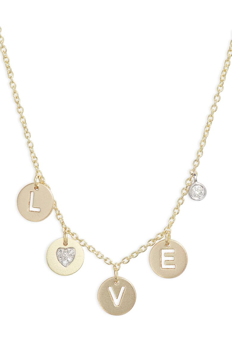MEIRA T Love Diamond Charm Necklace, Main, color, YELLOW GOLD/ WHITE GOLD