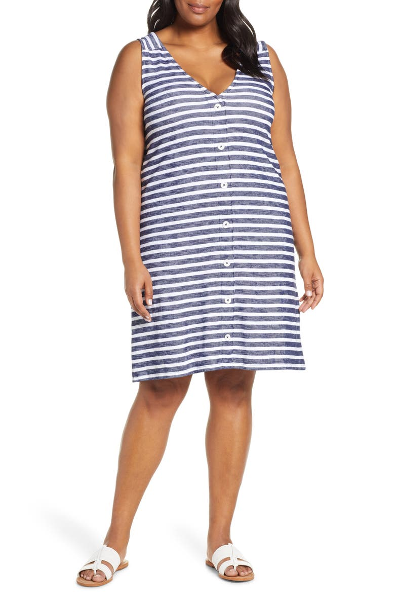 CASLON<SUP>®</SUP> Button Back Knit Dress, Main, color, NAVY- WHITE STRIPE