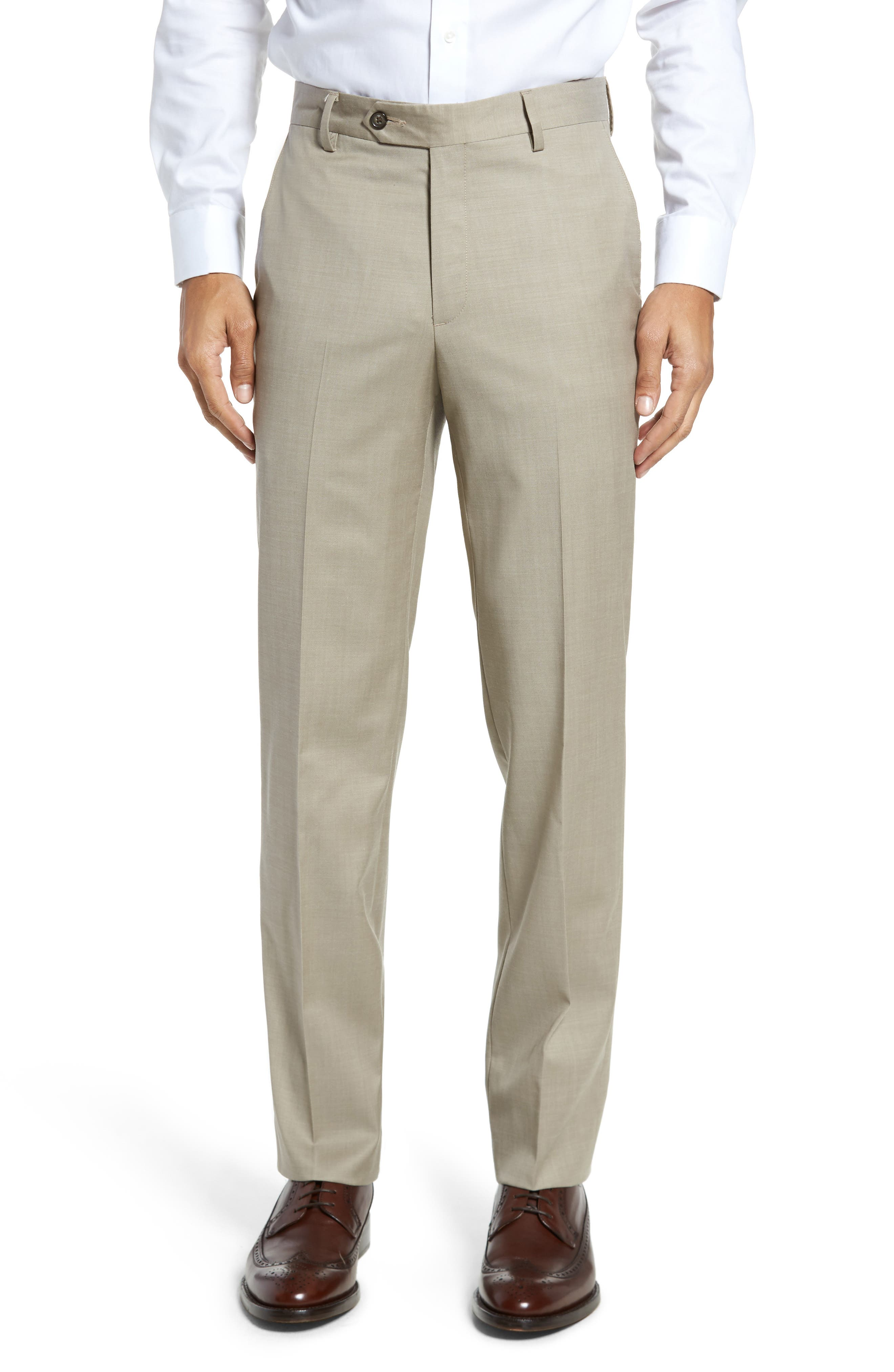 Flat Front Modern Fit Gabardine Stretch Wool Trousers
