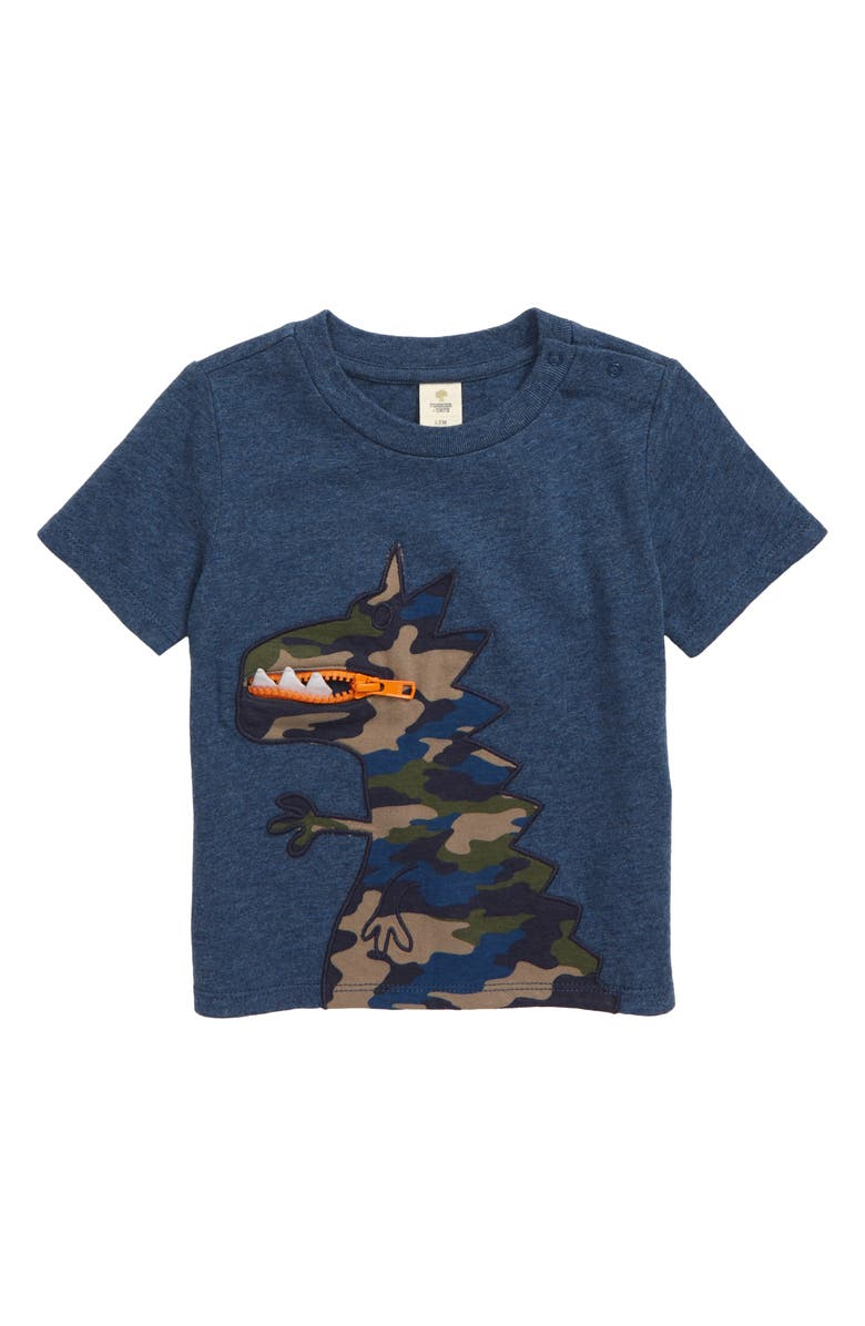 TUCKER + TATE Un Be Leaf Able Zipper T-Shirt, Main, color, NAVY DENIM HEATHER DINO