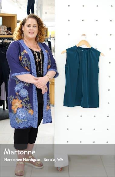 Binora Shirred Neck Sleeveless Stretch Silk Top, sales video thumbnail
