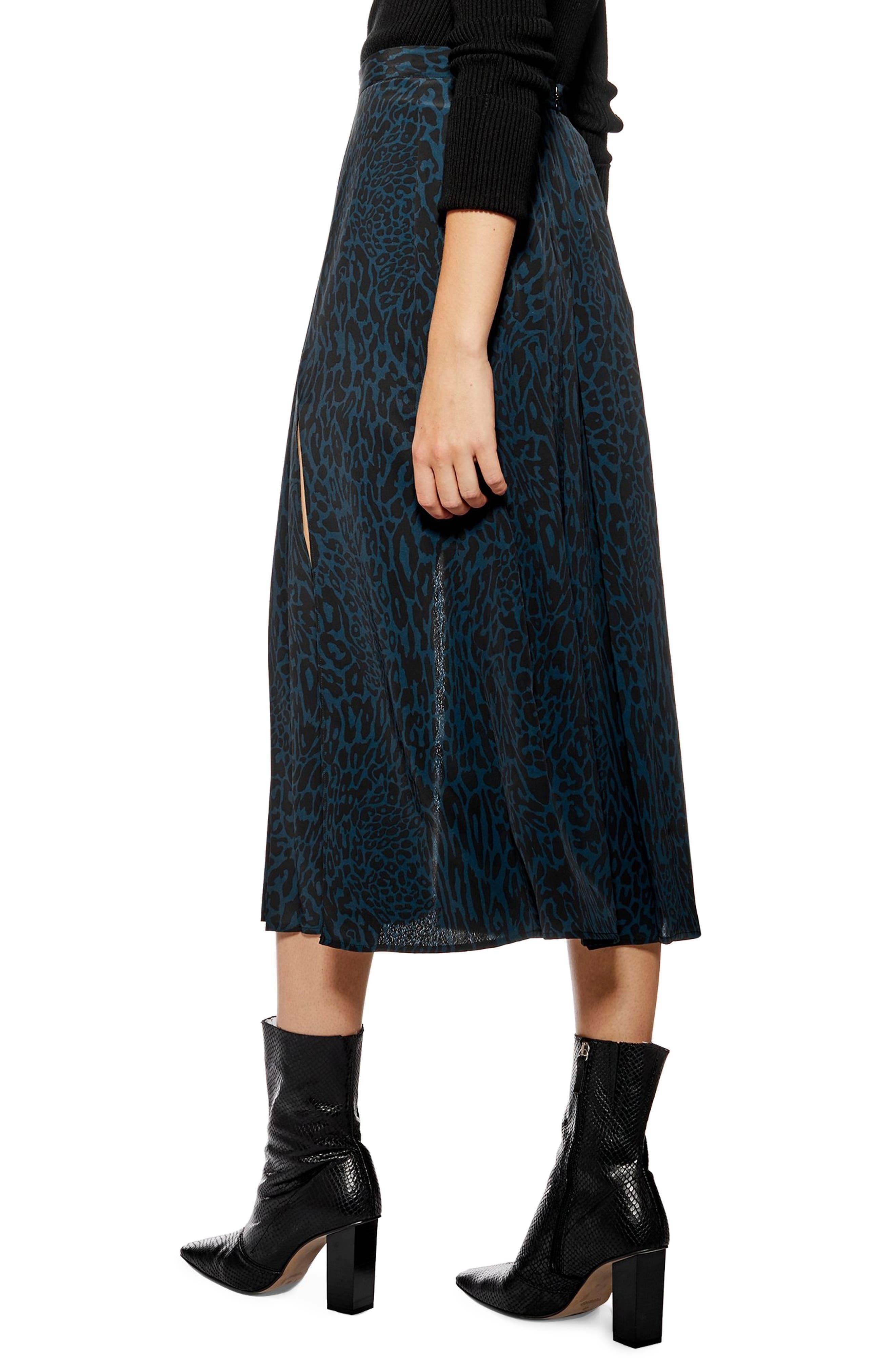 ,                             Box Pleat Midi Skirt,                             Alternate thumbnail 2, color,                             BLUE MULTI
