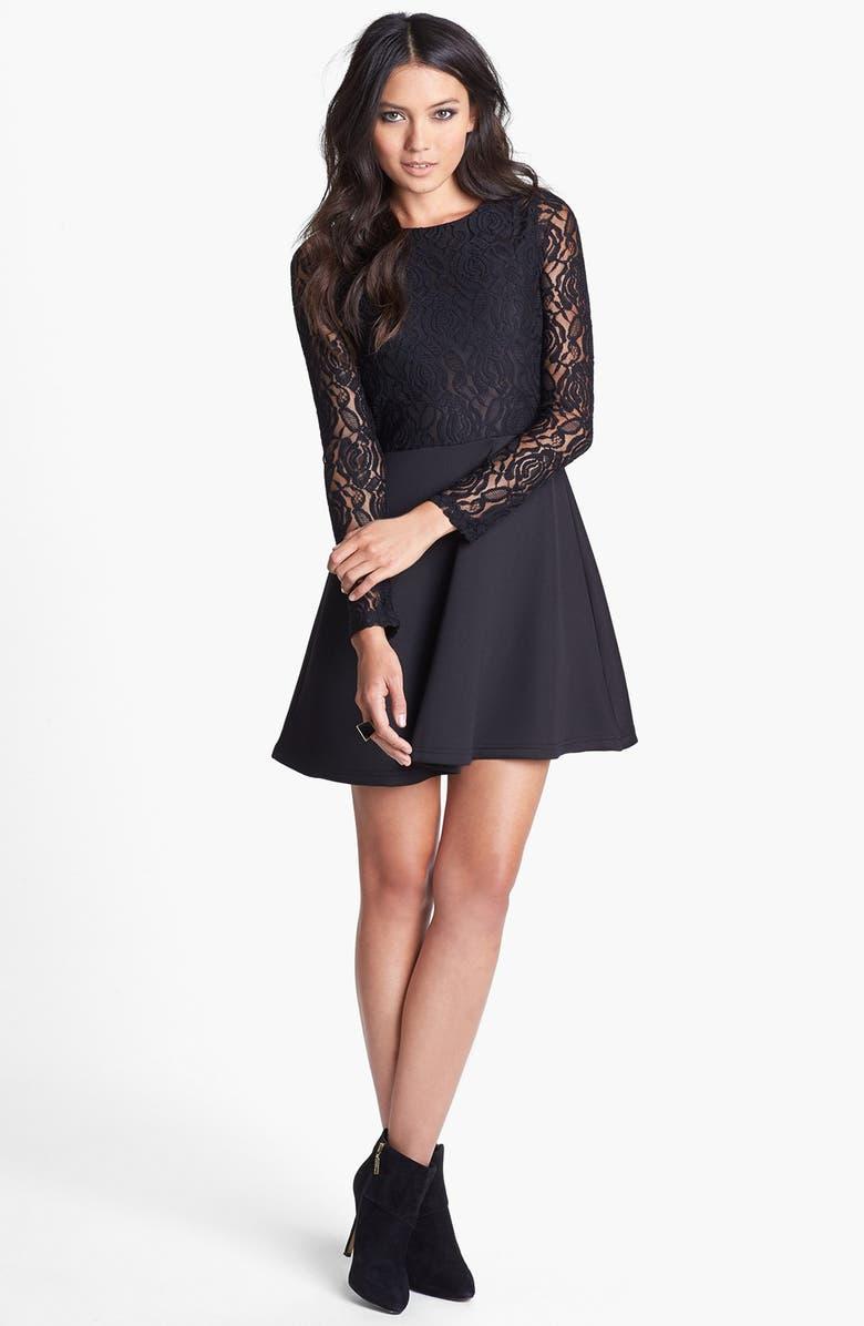 GLAMOROUS Lace Bodice Open Back Skater Dress, Main, color, 001