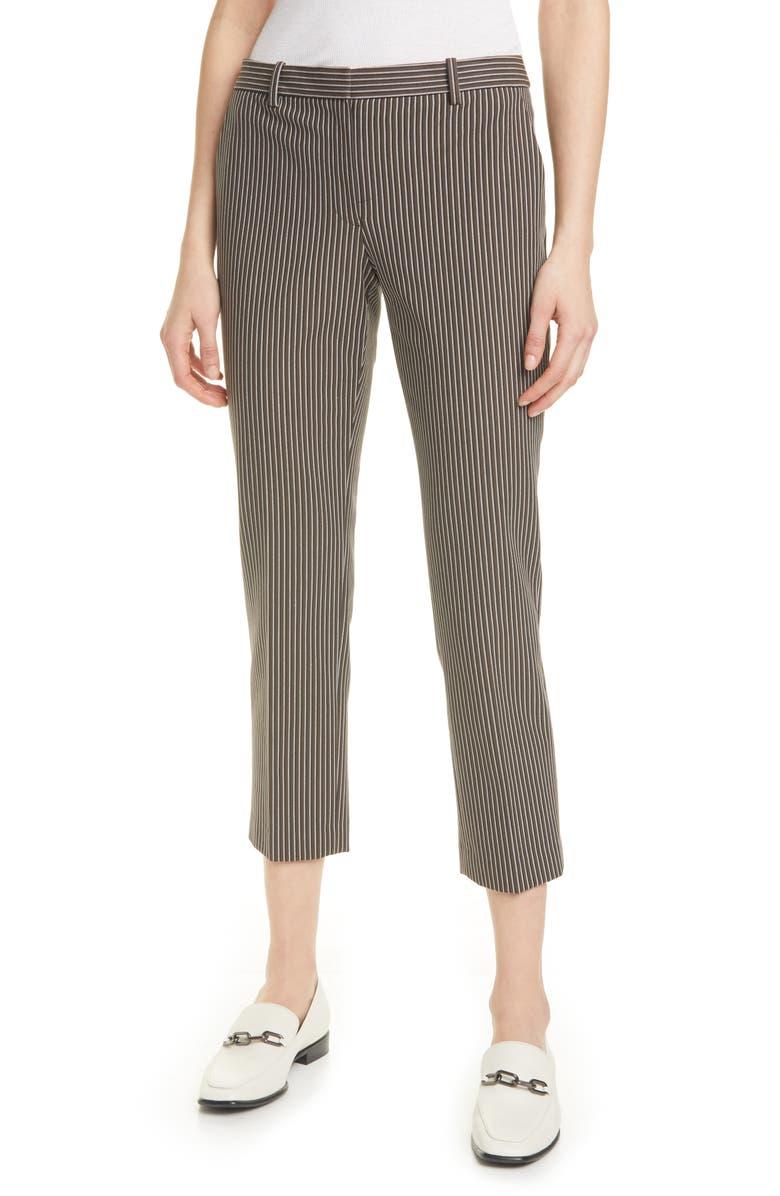 THEORY Treeca 4 Stripe Stretch Cotton Crop Pants, Main, color, 250