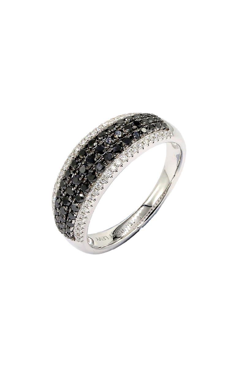 BONY LEVY Wide Black Diamond Band Ring, Main, color, WHITE GOLD/ BLACK DIAMOND