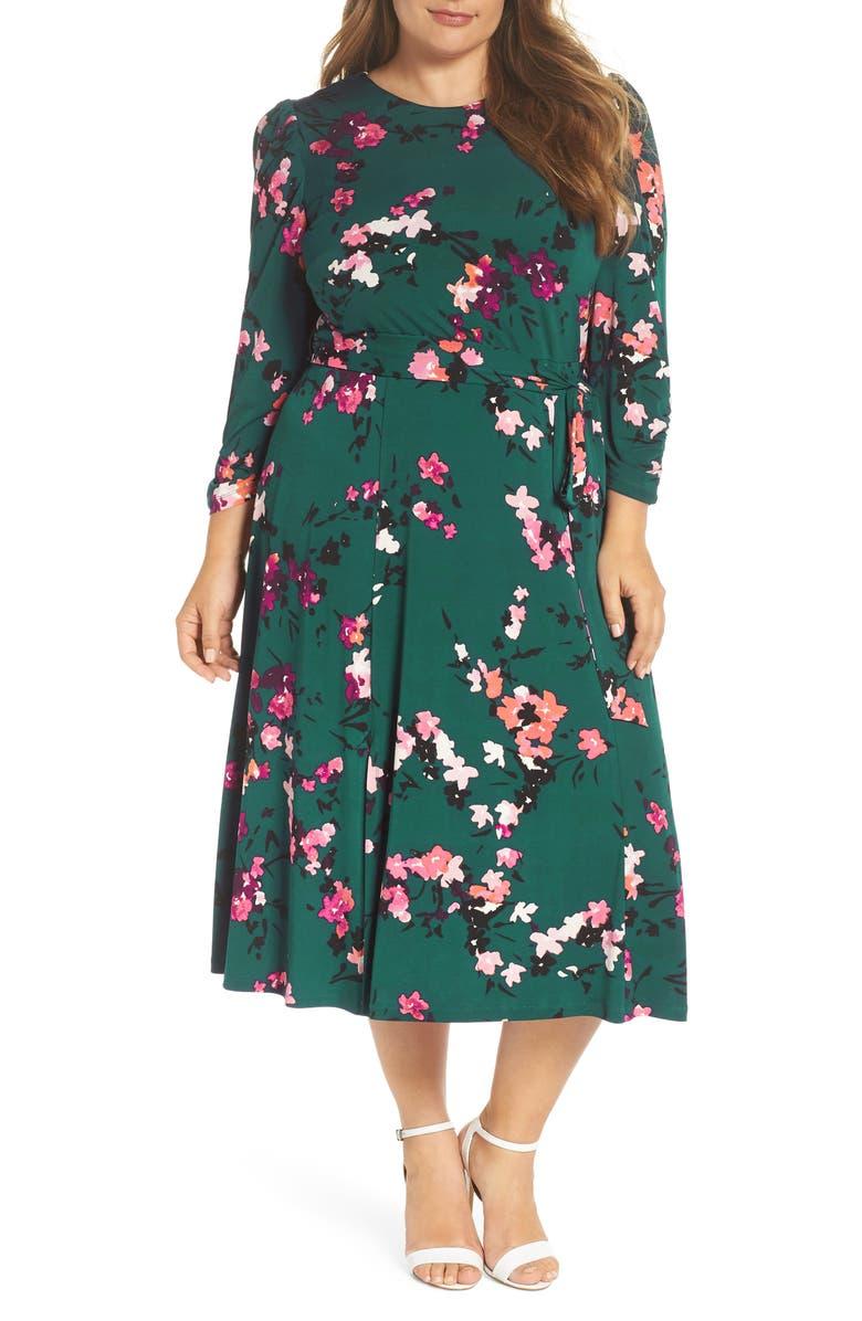 ELIZA J Floral Print Midi Dress, Main, color, GREEN