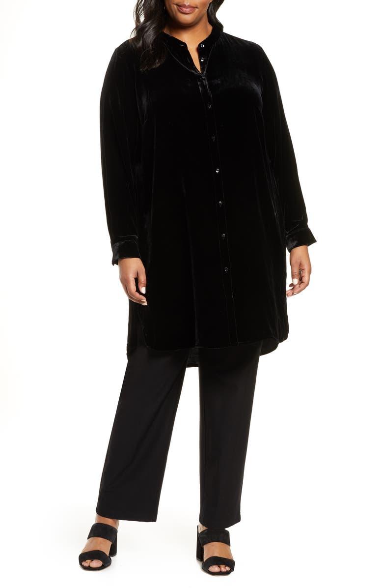 EILEEN FISHER Long Velvet Shirt, Main, color, 001