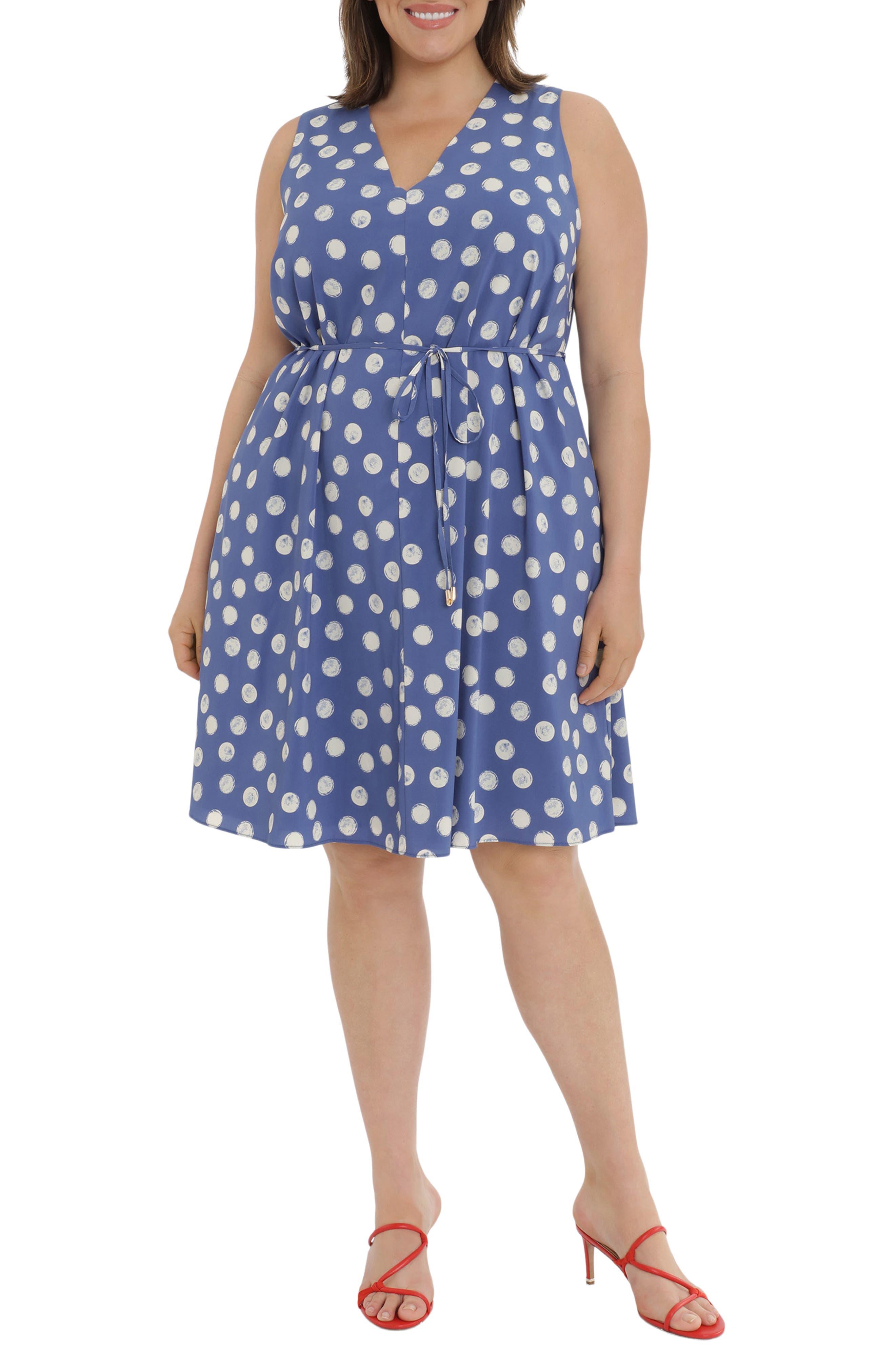 Dot Print V-Neck Sleeveless Dress