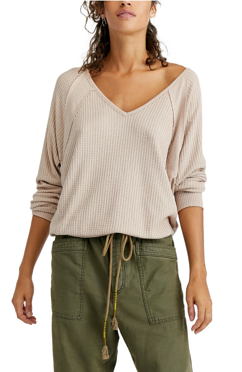 FREE PEOPLE Santa Clara Thermal Top, Main, color, TOASTED
