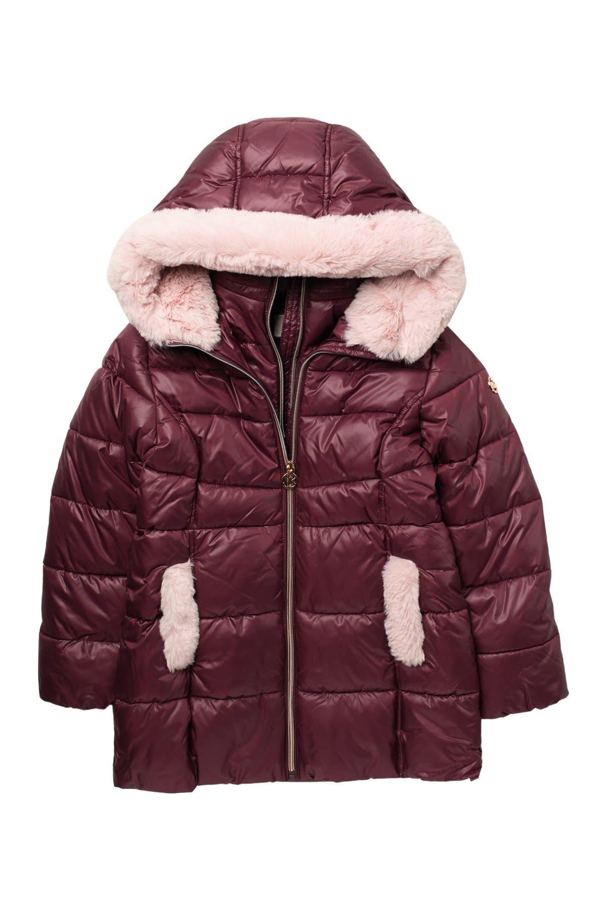 Image of Michael Kors Heavyweight Stadium Faux Fur Trim Jacket