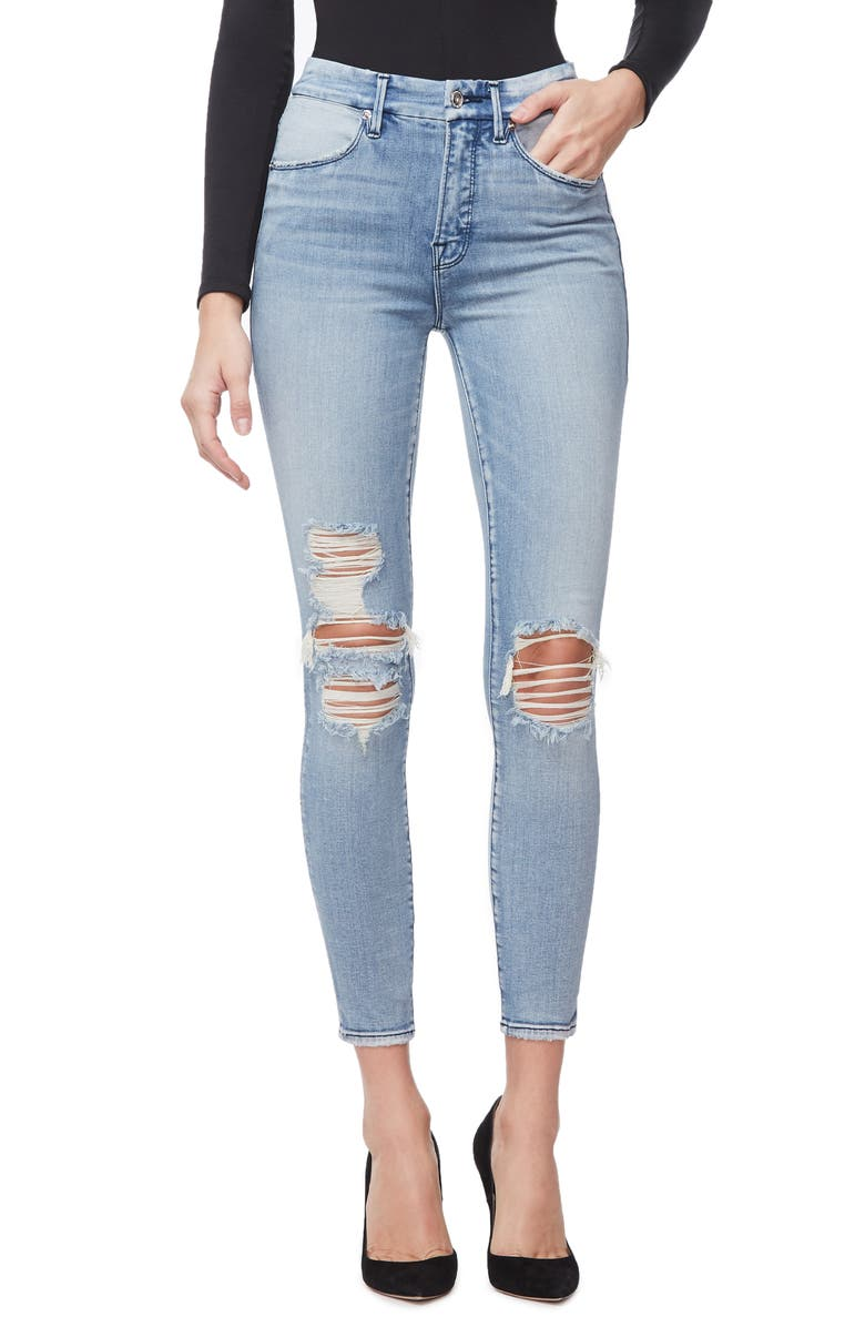 GOOD AMERICAN Good Waist Ripped High Waist Crop Skinny Jeans, Main, color, 401