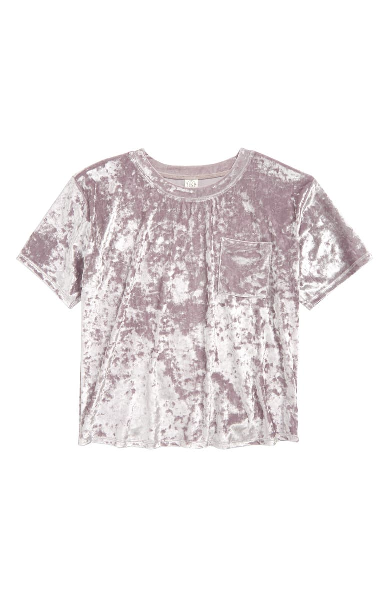 TREASURE & BOND Kids' Crushed Velour Top, Main, color, PURPLE PEACE
