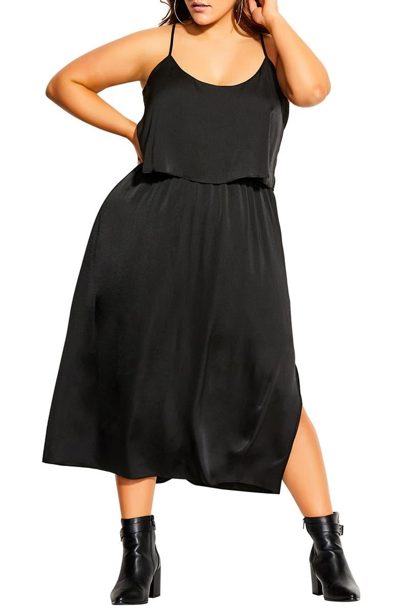 CITY CHIC Halter Neck Satin Midi Dress, Main, color, 001