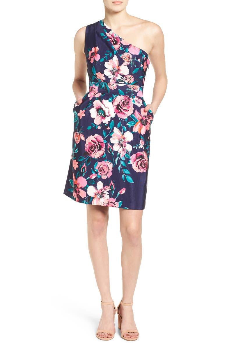 ELIZA J One-Shoulder Sheath Dress, Main, color, 498