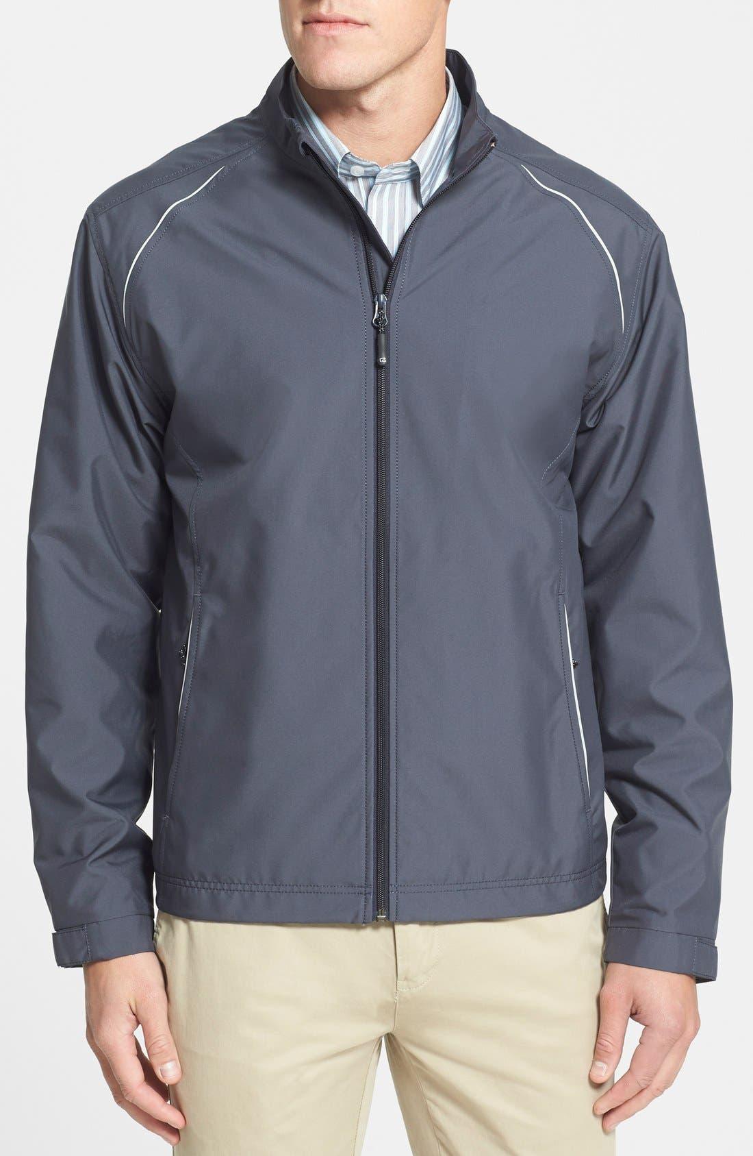 Reflective piping details a lightweight jacket that\\\'s both wind- and water-resistant. Style Name: Cutter & Buck Beacon Weathertec Wind & Water Resistant Jacket. Style Number: 876886 1. Available in stores.