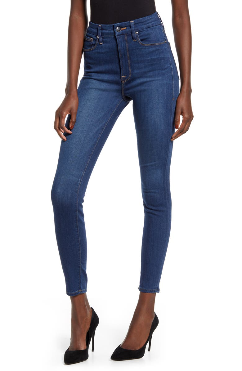 GOOD AMERICAN Good Waist High Waist Ankle Skinny Jeans, Main, color, BLUE604