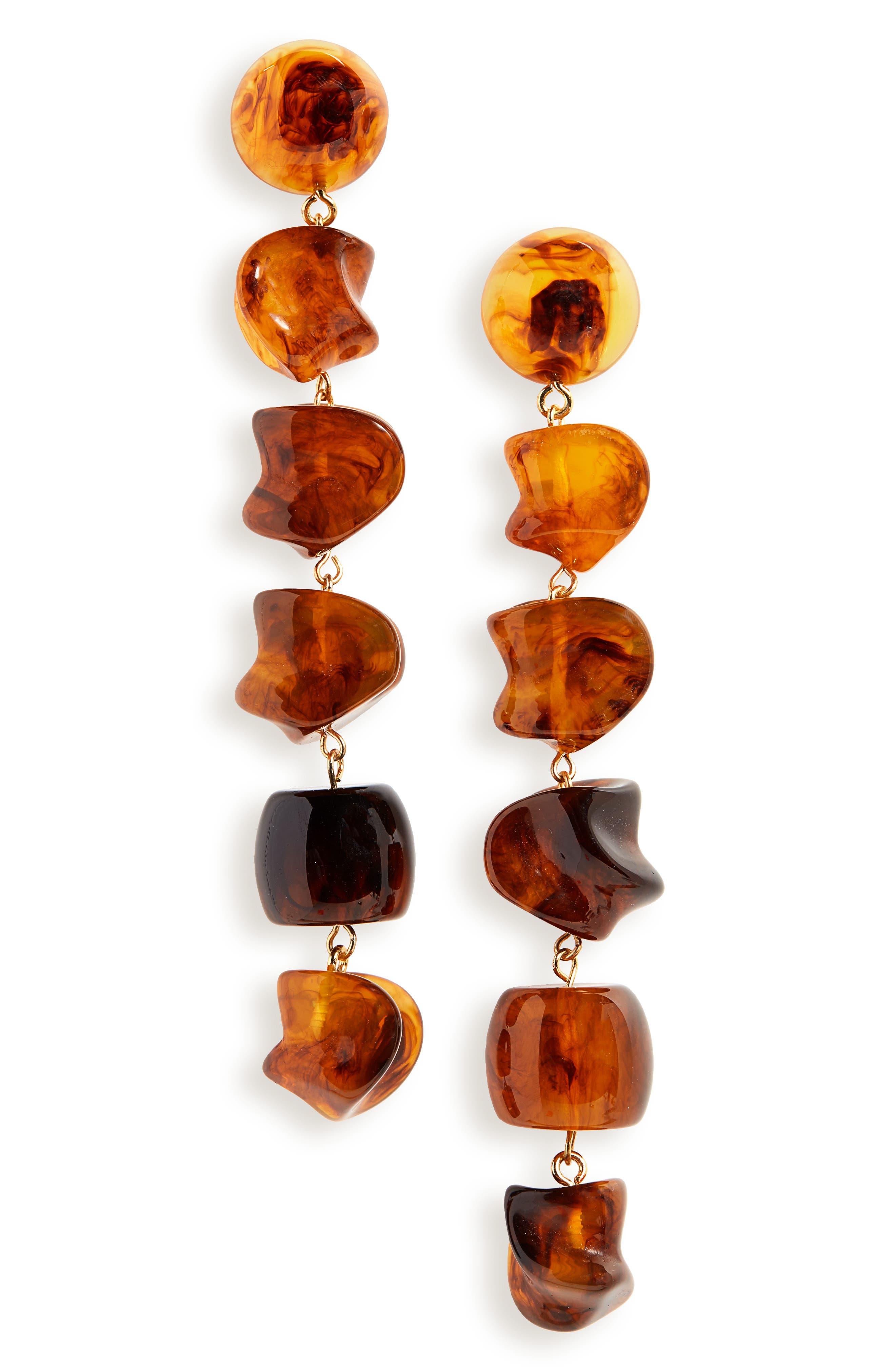 Leo Drop Earrings, Main, color, TORTOISE