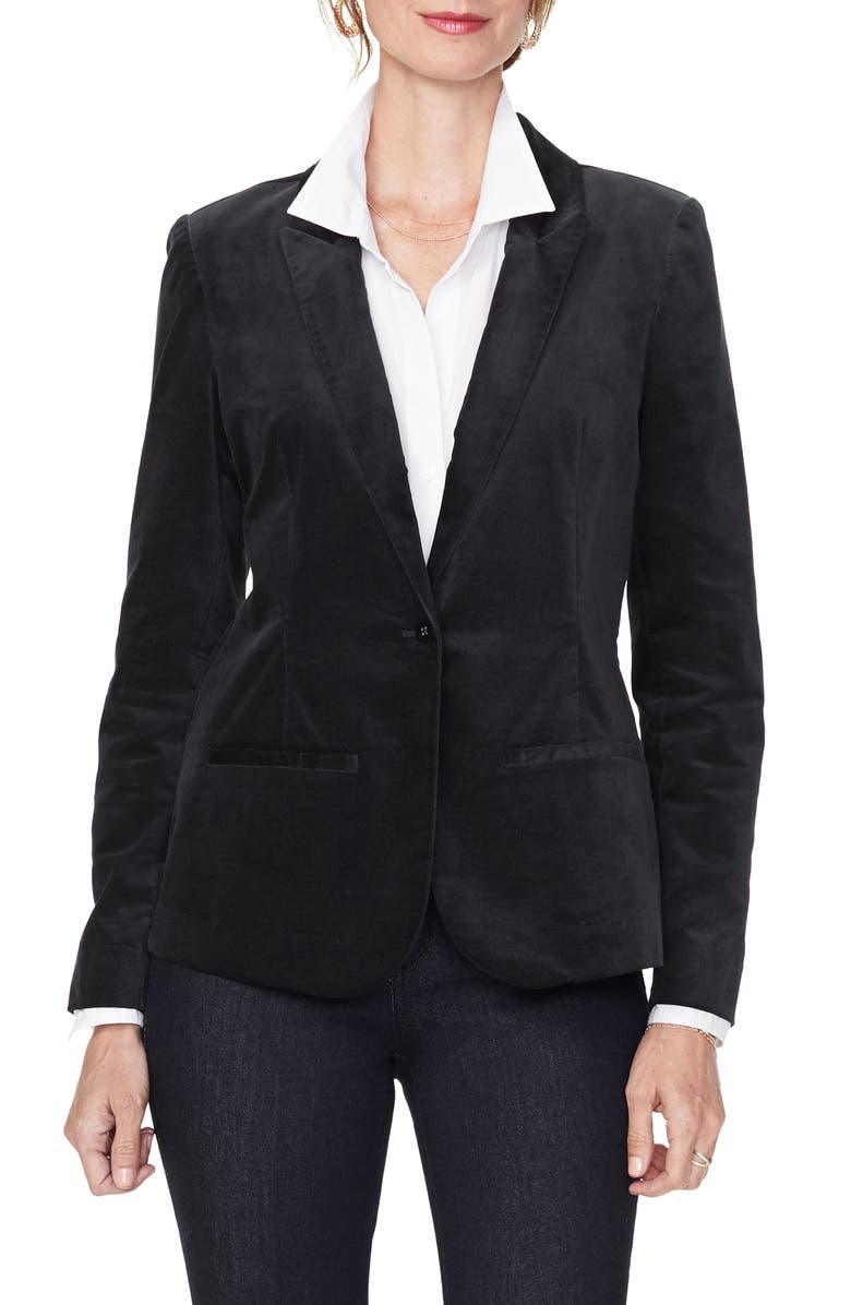 NYDJ Velvet Blazer, Main, color, BLACK