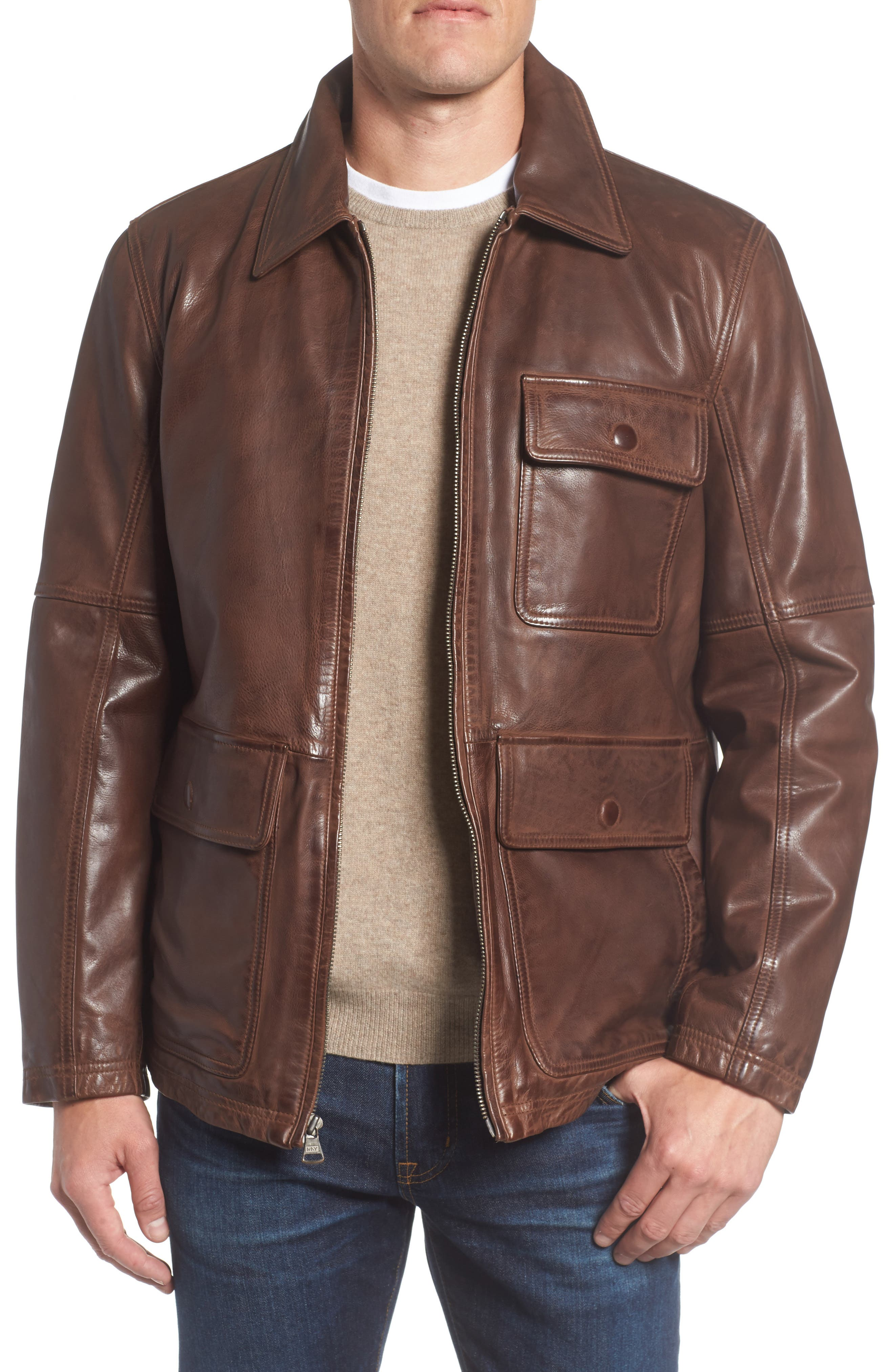 Image of Andrew Marc Bakers Calfskin Leather Jacket