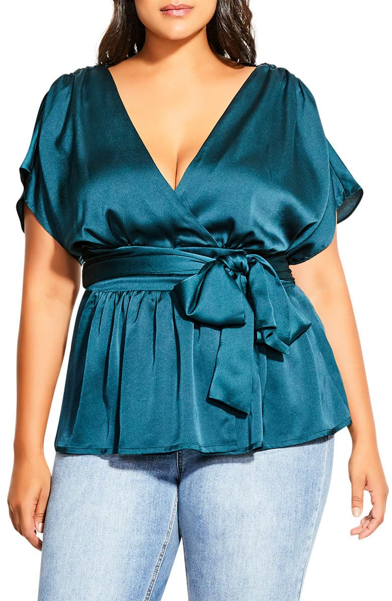 CITY CHIC Tangled Faux Wrap Top, Main, color, 317