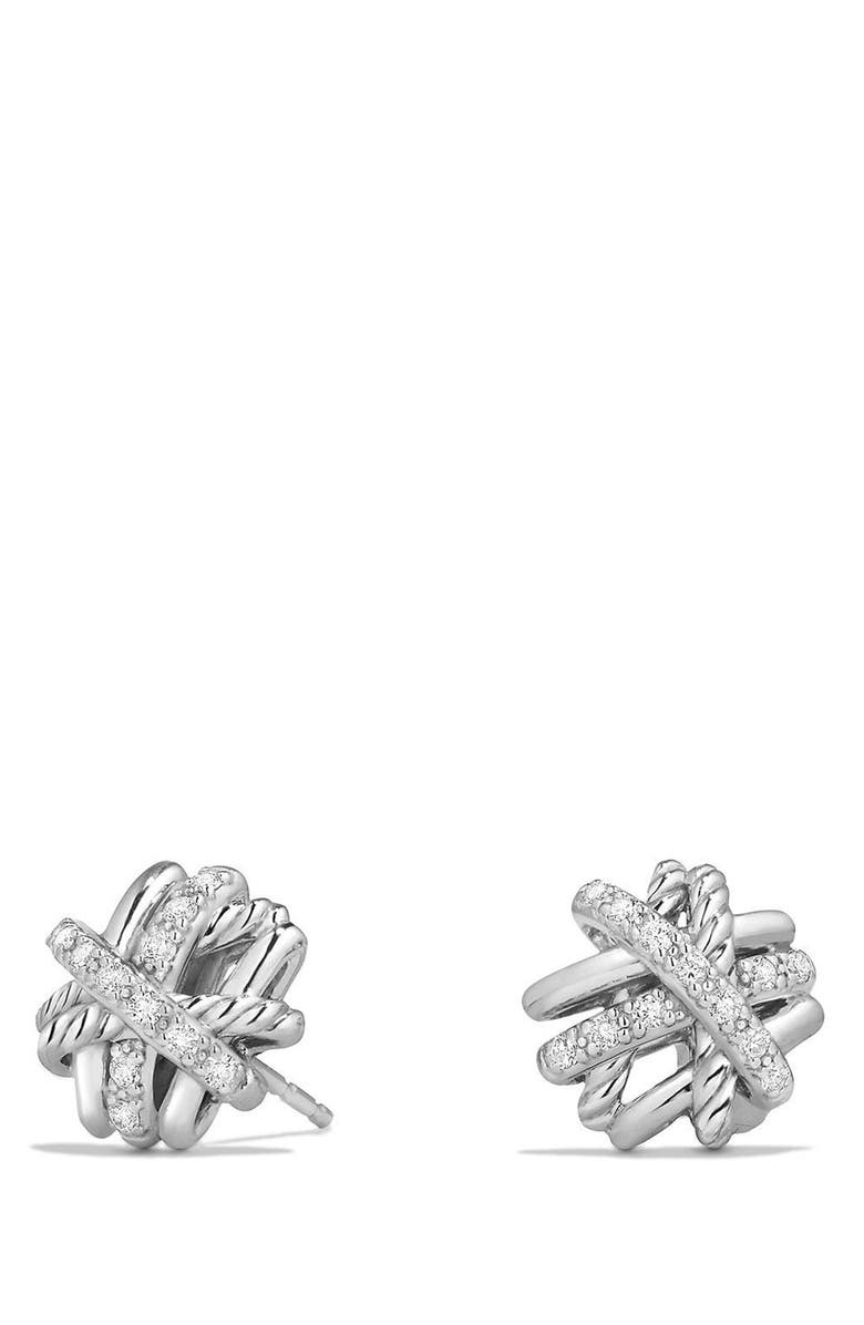 DAVID YURMAN Crossover Stud Earrings with Diamonds, Main, color, SILVER/ GOLD