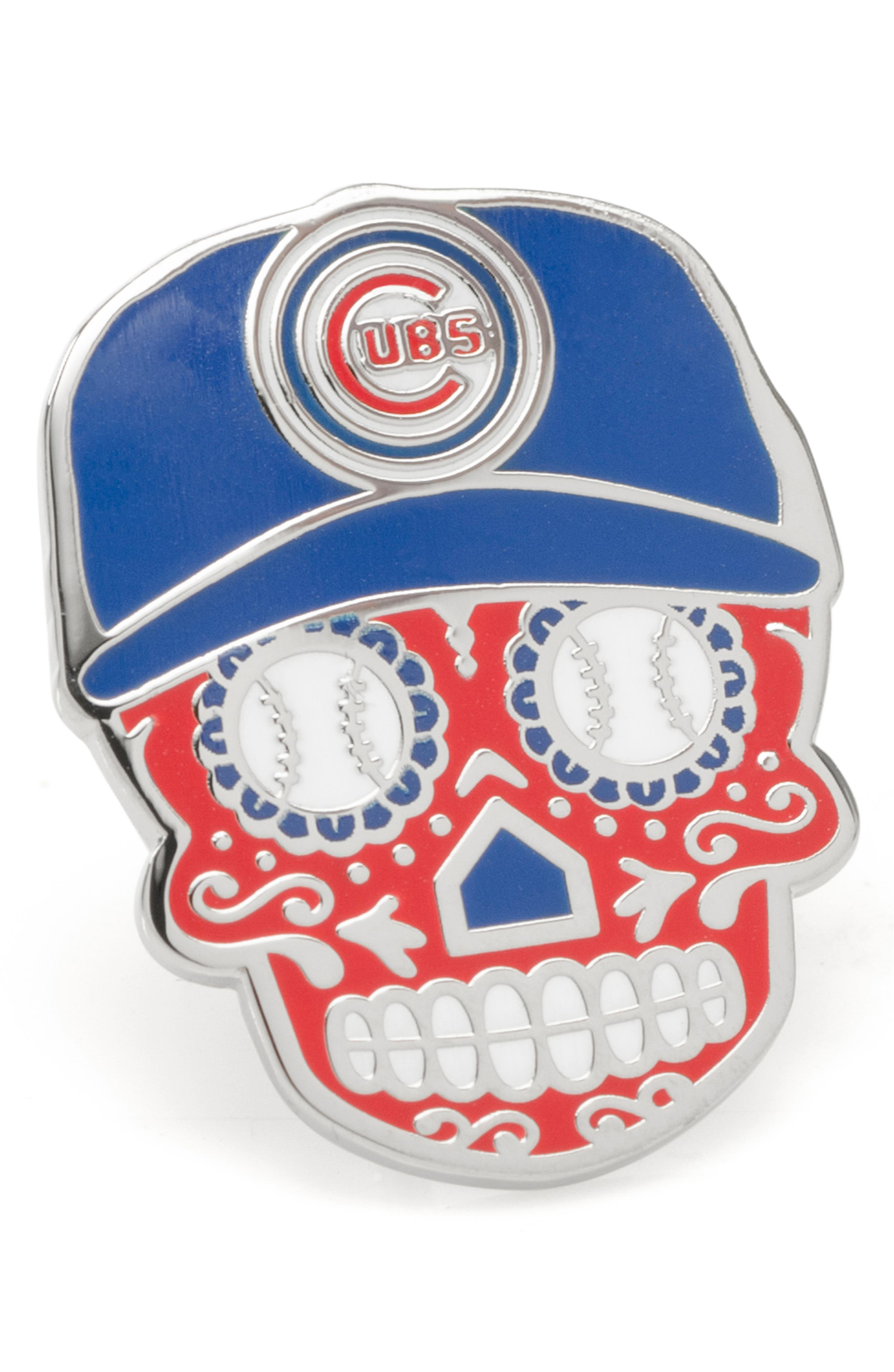 Represent your team in the spirit of Dia de los Muertos with this sugar-skull lapel pin decorated with a Cubs cap, baseball eyes and a home-plate nose. Style Name: Cufflinks, Inc. Chicago Cubs Sugar Skull Lapel Pin. Style Number: 6171433. Available in stores.