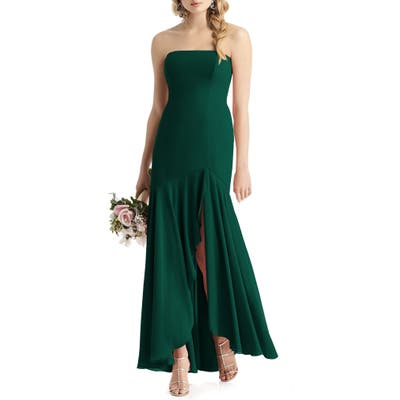 After Six Strapless High/low Matte Chiffon Gown, Green