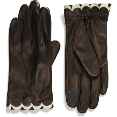 Kate Spade New York Scallop Leather Gloves, Black