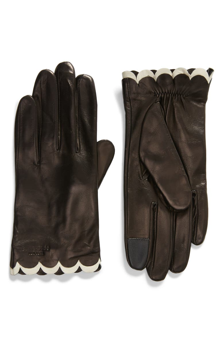 KATE SPADE NEW YORK scallop leather gloves, Main, color, BLACK/ CREAM