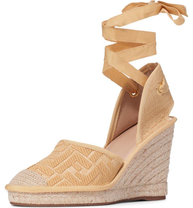 FENDI Roam Ankle Strap Wedge Sandal, Main, color, BEIGE