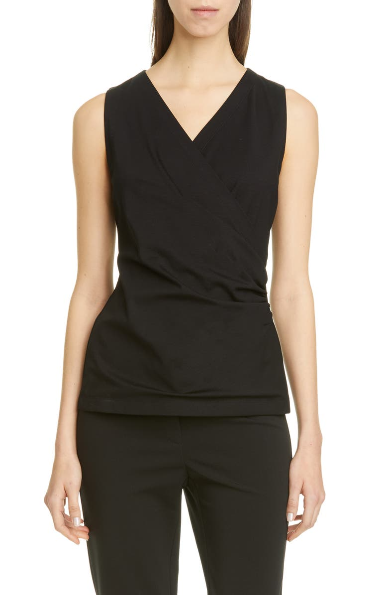 LAFAYETTE 148 NEW YORK Waters Gathered Surplice Top, Main, color, BLACK