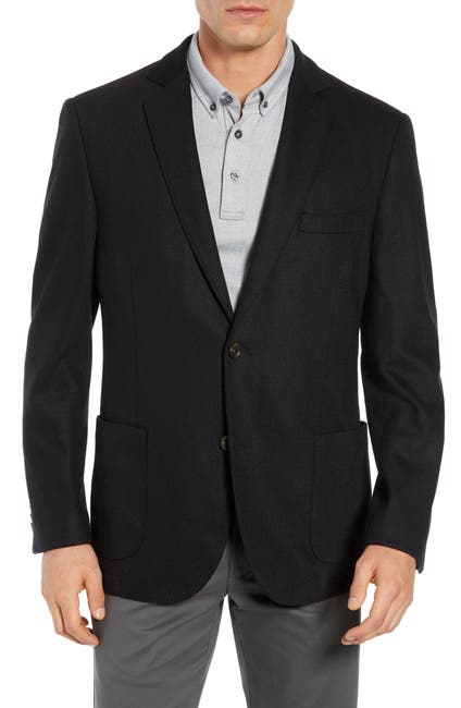 Image of FLYNT Black Two Button Notch Lapel Regular Fit Soft Knit Sport Jacket