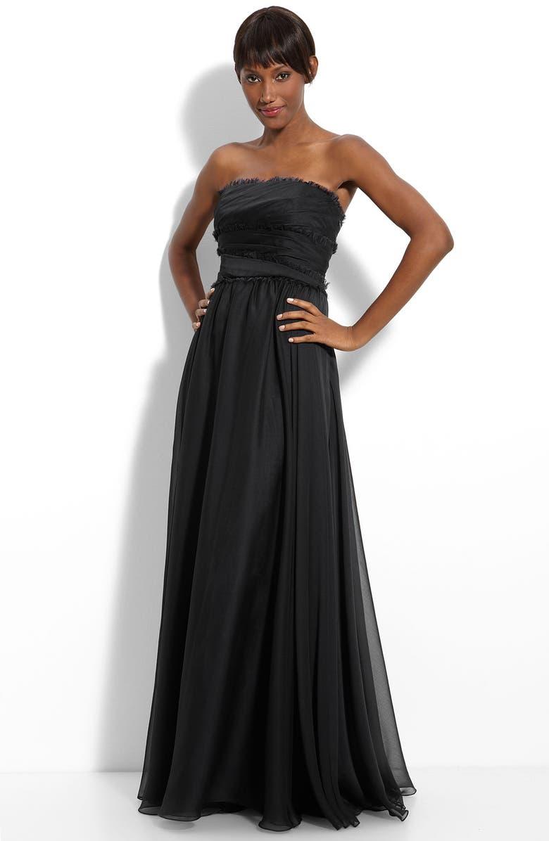 MONIQUE LHUILLIER BRIDESMAIDS ML Monique Lhuillier Bridesmaids Strapless Chiffon Gown, Main, color, 001