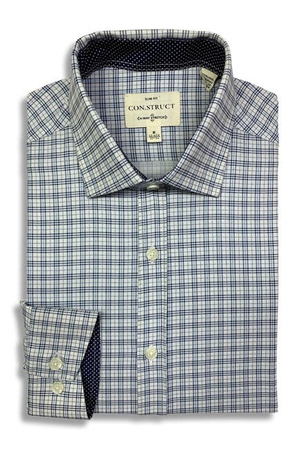 Image of CONSTRUCT Tartan Print Slim Fit Dress Shirt