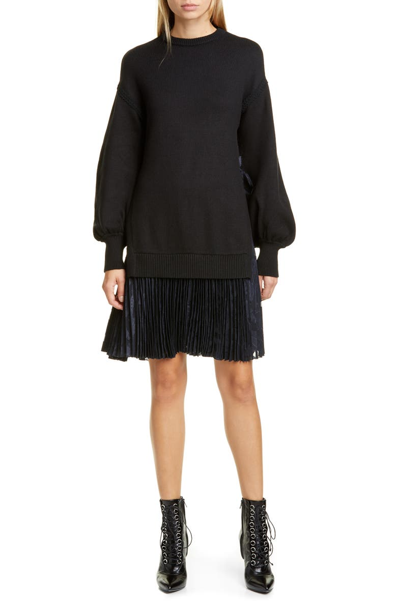 ADEAM Pleated Hem Long Sleeve Sweater Dress, Main, color, BLACK